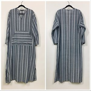 ZANZEA Boho Stripe Caftan Maxi Dress